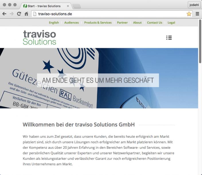 traviso Solutions Internetpräsenz
